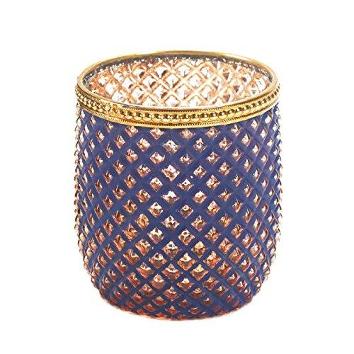 Dominion Diamond Pattern Purple Glass Votive Candle Holder With Gold Trim