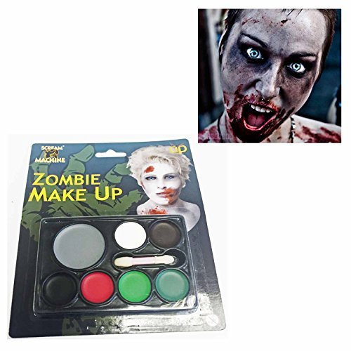 Halloween Make Up Set Zombie Bride Dead Face Paint Grey Red Paints by Davies (Makeup Dead Bride Halloween)
