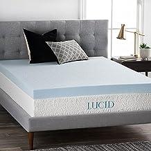 LUCID 4 Inch Gel Memory Foam Mattress Topper - Ventilated for Optimum Temperature -Twin