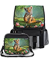 Kidaroo Tiger Lily School Backpack & Lunchbox for Girls, Boys, Kids