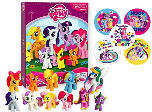 Story Book and Figures Set: My Little Pony Licensed Book Figure and Stickers Set Collection
