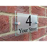 Door number plaque Glass Effect Acrylic House Sign Modern Style