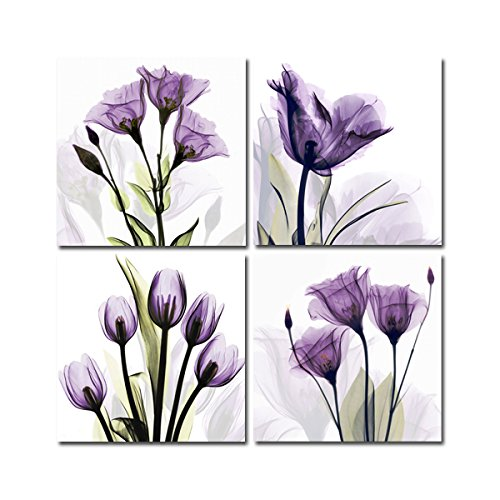 Yang Hong Yu - Canvas Prints Purple Flower Photos on Canvas Wall Art Stretched and Framed Modern Decor Paintings Giclee Artwork for Home Decoration 12x12inch