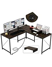 Bestier L Shaped Desk 95.2 Inch with Power Outlet Reversible Corner Office Desk or 2 Person Long Table for Home Large Gaming Writing Workstation with Monitor Stand and 2 Cable Holes, Brown