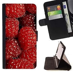 BullDog Case - FOR/Sony Xperia m55w Z3 Compact Mini / - / raspberries red berries fresh garden healthy /- Monedero de cuero de la PU Llevar cubierta de la caja con el ID Credit Card Slots Flip funda de cuer