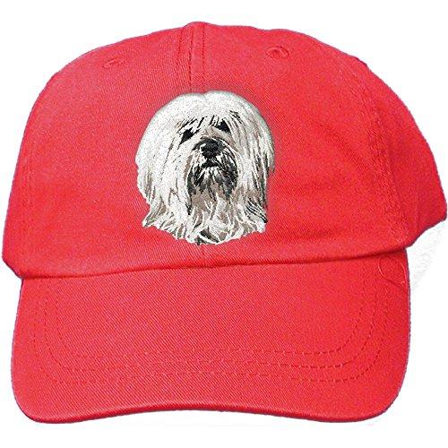 Tibetan Terrier Dog Breed - Cherrybrook Dog Breed Embroidered Adams Cotton Twill Caps - Red - Tibetan Terrier