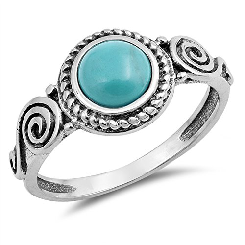 Round Simulated Turquoise Bali Swirl Rope Halo Ring .925 Sterling Silver Band Size 8