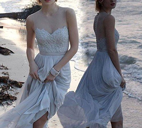 Bainjinbai Party Damen Kleider Abend Durchsichtig Elfenbein Lange Hochzeitskleider Ausschnitt Spitze Formal rqWXwrpz