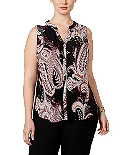 INC Womens Plus Sleeveless Printed Blouse, Empire Paisley, (Paisley Empire Shirt)