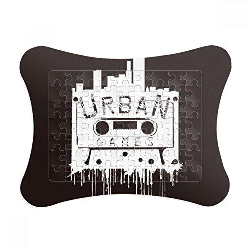 Paper Cassette Frame (Street Landmark Silhouette Pattern Graffiti Paper Card Puzzle Frame Jigsaw Game Home Decoration Gift)