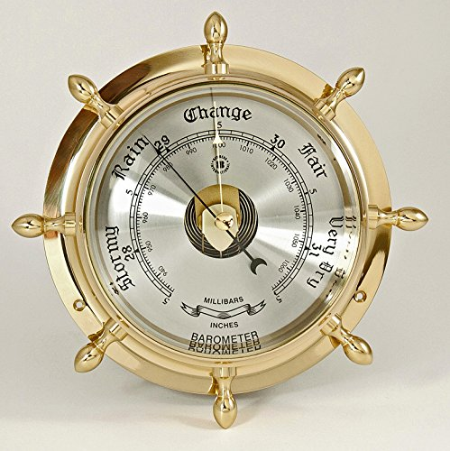 Wheel Barometer - Barometers - Brass Ships Wheel Barometer - Weather Instruments - Nautical Decor