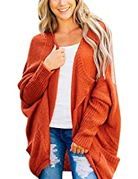 Brcus Women Batwing Sleeve Open Front Loose Baggy Cardigans Sweater Tops with Pockets