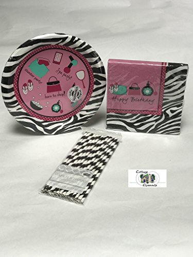 Pink Zebra Boutique Party Pack with Plates Napkins and Straws for 8]()