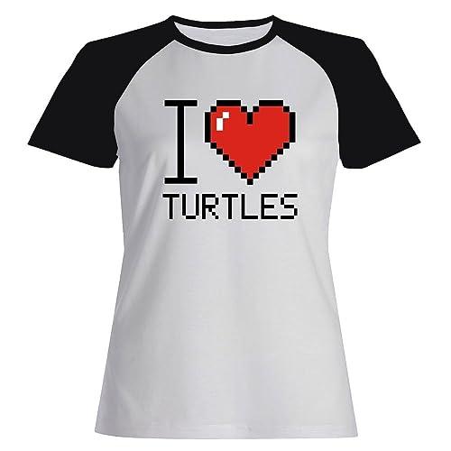 Idakoos I love Turtles pixelated – Animali – Maglietta Raglan Donna