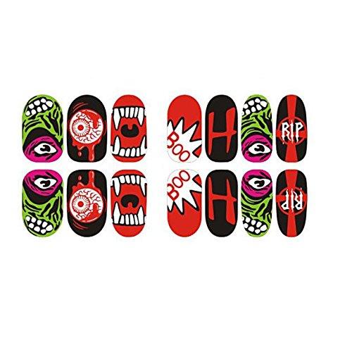Guo Nuoen 14Pcs Halloween Skull Bone Luminous Nail Art Sticker Watermark Tattoos Tips Craft Party Self-Adhesive for Kids -