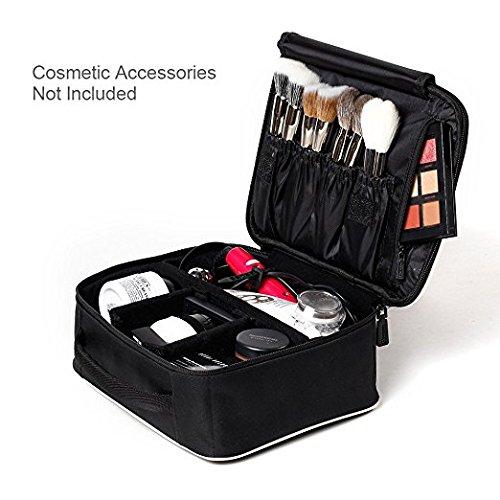"[Gifts for women] ROWNYEON Portable Travel makeup bag Makeup Case Mini Makeup Train Case 9.8"" (White edge)"