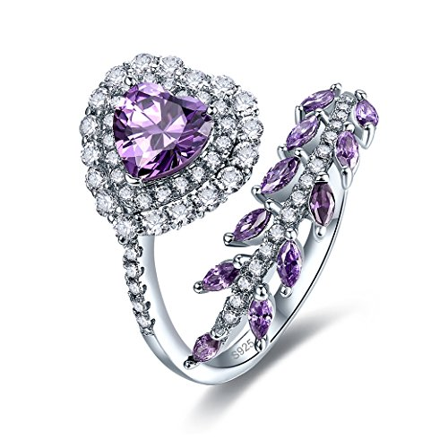 Zetaur Women's 925 Sterling Silver Created Amethyst Eternity Heart Cut Halo Cubic Zirconia Leaf Vine Adjustable Ring for Birthday Proposal Gift Bridal Engagement Party