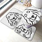 3 Piece Team Bath Rug Set,Anti-Skid Bathroom Toilet Contour Mat Washable(Head English Cocker Spaniel Animal Black Breed Canine Cute) 3