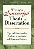 Writing a Successful Thesis or Dissertation 9781412942249