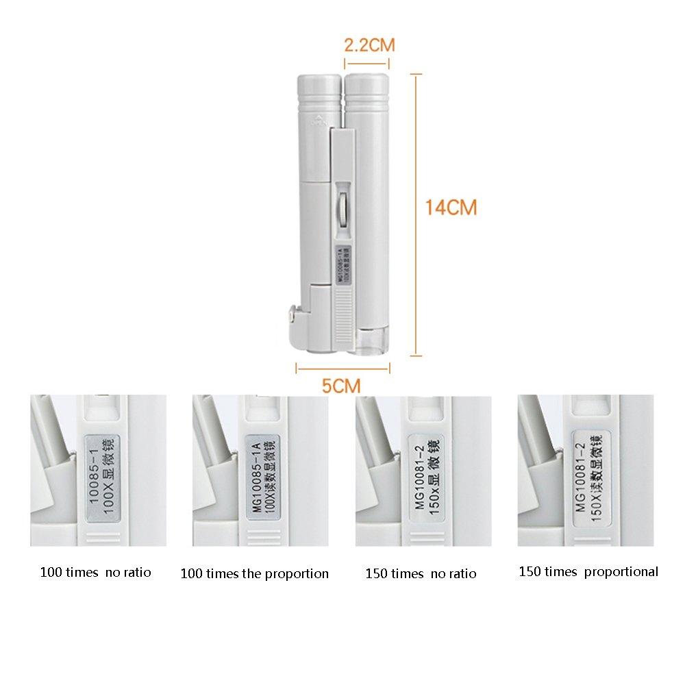 Lupa de Mano HD, luz LED 100 Veces Lupa, Lupa, Veces microscopio de identificación de Joyas Impreso ZDDAB 313c5c
