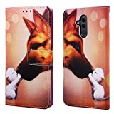 EnjoyCase Wallet Case for Huawei Mate 20 Lite,Colorful Hound Pattern Pu Leather Bookstyle Card Slots Magnetic Flip Cover With Hand Strap for Huawei Mate 20 Lite