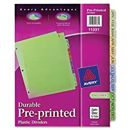 Avery Plastic Preprinted Tab Dividers, 8.5 x 11 Inch, Jan-Dec Tab, Multi-Color Tab, 1 Set (11331)