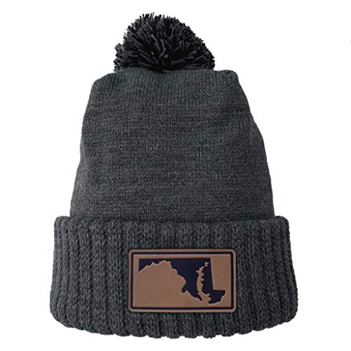 Homeland Tees Maryland Leather Patch Cuff Beanie Charcoal with Pom