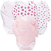 HONGLIN Newborn Baby Boys Girls Yarn-Dyed Striped Long Sleeve Bodysuit Cotton Onesies with Elephant and Crocodile(2 Pack Striped, 6-9 Months)