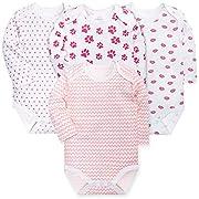 HONGLIN Newborn Baby Girls 4-Pack Long Sleeve Bodysuit Cotton Onesies