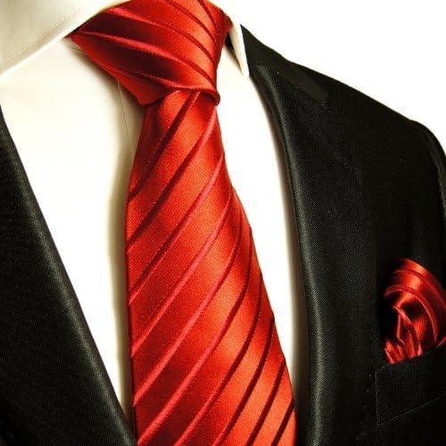Einstecktuch Paul Malone Krawatten Set rot 100/% Seidenkrawatte
