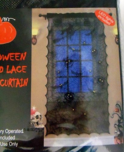 Halloween Lighted Lace Window Curtain