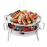 Portable Folding Barbecue Charcoal Grill Stainless Steel Patio Camping Picnic Cooking Stove  Sports Festival Campsite Kids Gear Kitchen Products Supplies Bag Family Outdoor Hiker Women BBQ