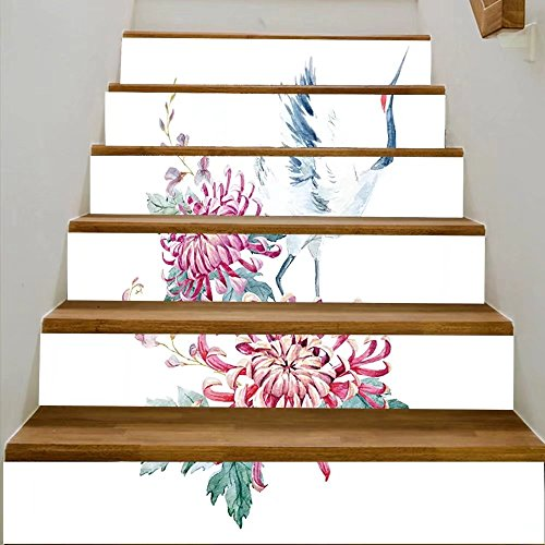 vanfan 3D Creative watercolor illustration of chrysanthemum flowers and crane asian motif DIY Refurbished Stairs Stickers Removable Waterproof Stairs Mural(39.3