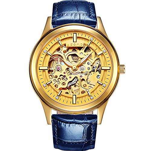 PASOY Men's Automatic Mechanical Watch Steel Sapphire Glass Luminous Hands Blue Leather Skeleton Watches by PASOY