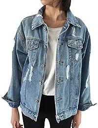 60fcbf5800ac Oversize Denim Jacket for Women Ripped Jean Jacket Boyfriend Long Sleeve  Coat