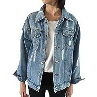 84fb503926aa0 JudyBridal Oversize Denim Jacket For Women Ripped Jean Jacket Boyfriend  Long Sleeve Coat