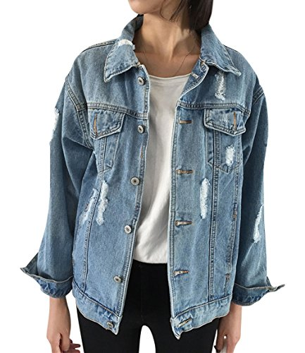 JudyBridal Oversize Denim Jacket for Women Ripped Jean Jacket Boyfriend Long Sleeve Coat Blue L