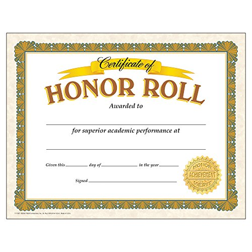 - Trend Enterprises, Inc. T-11307BN Honor Roll Classic Certificates, 30 per Pack, 6 Packs
