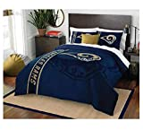NFL Football Los Angeles Rams Super Soft Luxury Twin Size Comforter Includes Matching Pillow Case