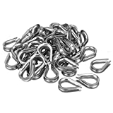 uxcell 304 Stainless Steel Chain Thimble for 1/4 inch (6mm) Diameter Wire Rope 50pcs