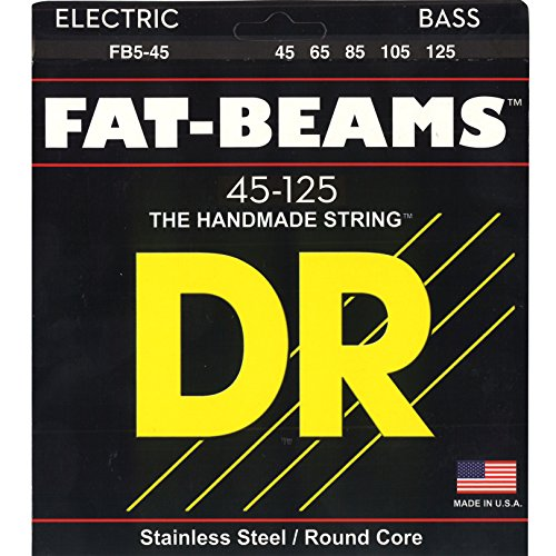 DR Strings FB5-45 Fat-Beams Bass 5 Strings Medium 45-125 - Bass Fat Beam Stainless Steel