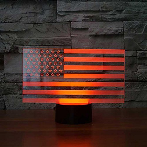 3D American Flag Stripes Night Light Touch Switch Decor Table Desk Optical Illusion Lamps 7 Color Changing Lights LED Table Lamp Xmas Home Love Brithday Children Kids Decor Toy Gift