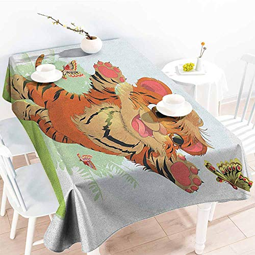 - familytaste Cartoon,Table Cloth for Outdoor Picnic Cub Playing with Butterflies in The Meadow Joyful Lively Baby Tiger Cat 52