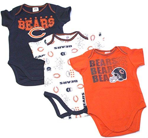 Gerber Childrenswear NFL Chicago Bears Boys Short Sleeve Bodysuit (3 Pack), 6-12 Months, Navy Chicago Bears Infant Apparel
