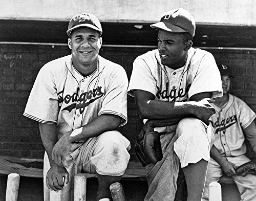 Brooklyn Dodgers Jackie Robinson And Roy Campanella Together in 1948. 8x10 photograph ()
