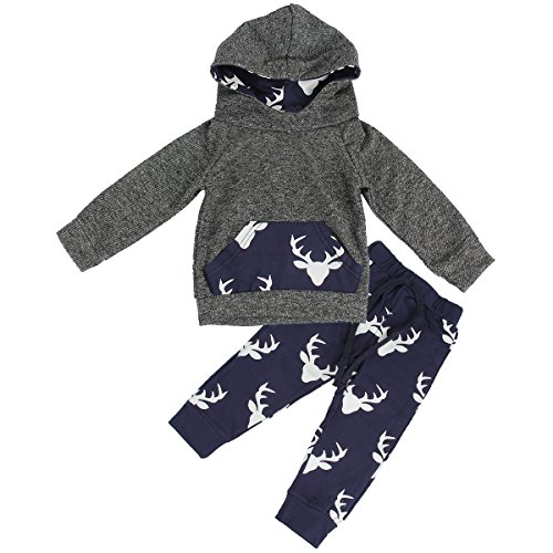 - puseky Toddler Baby Boys Grils Elk Deer Hooded Shirt+Pants Outfits Clothes Set (2T-2.5T, Grey+Navy Blue)