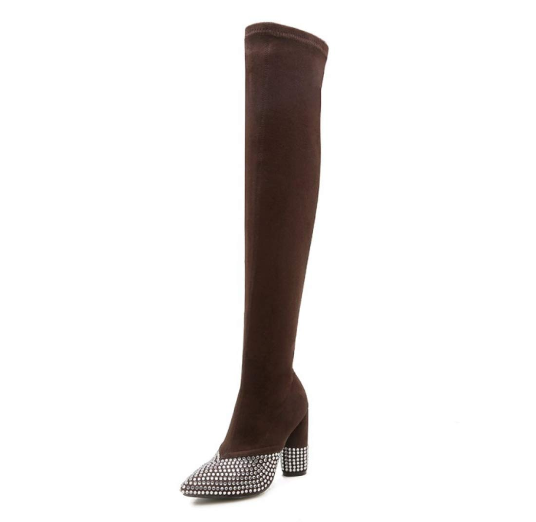 DANDANJIE Womens Boots Over The Knee Stretch Boots Rhinestone High Heel Zipper Boots