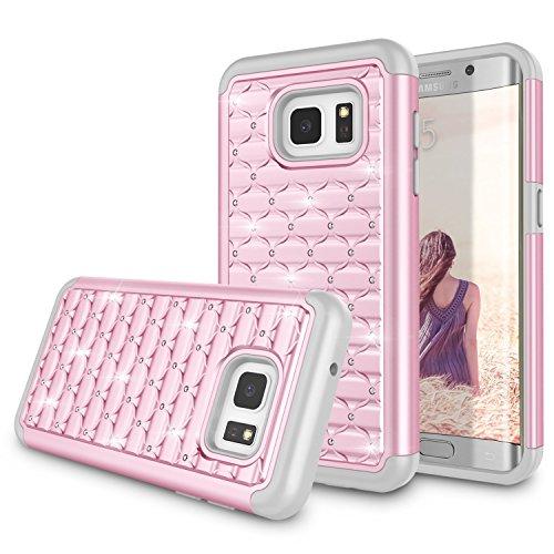 Galaxy S7 Edge Case, Samsung S7 Edge Cute Case, Zectoo Luxury Glitter Sparkle Crystal Bling Dual Layer Heavy Duty Hybrid Rubber Silicone Hard Shell Case Cover For Samsung Galaxy S7 Edge G935 - Pink