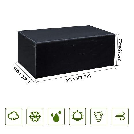 Guansky Funda Protectora para Muebles de jardín Funda Muebles Exterior Impermeable Anti-UV Protección Cubierta de muebles de Mesas Oxford Negro (200x ...
