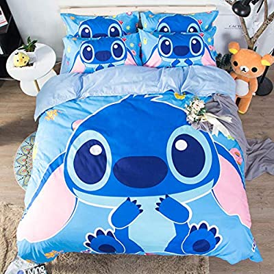 ROMOO 3D Lilo & Stitch Bedding Set Kids Teens Duvet Cover Set Super Soft and Comfortable Decorative Bed Set 3 Pieces 1 Duvet Cover+2 Pillow Shams, Twin: Home & Kitchen